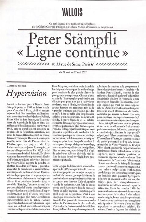Peter Stämpfli, «Ligne continue» - Galerie Georges-Philippe & Nathalie Vallois